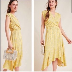 Maeve by Anthropologie Fete Midi Dress Yellow S